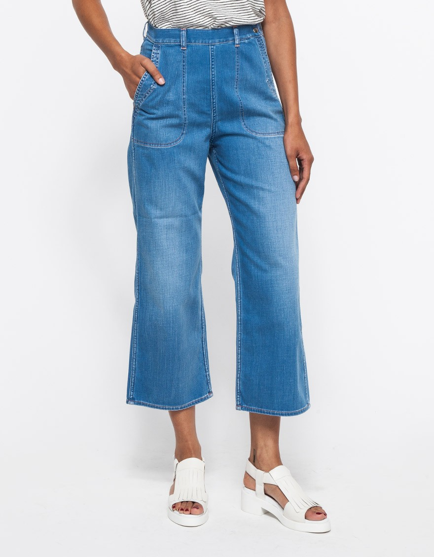 Lyst m i h jeans chambray western pants in blue for Chambray jeans