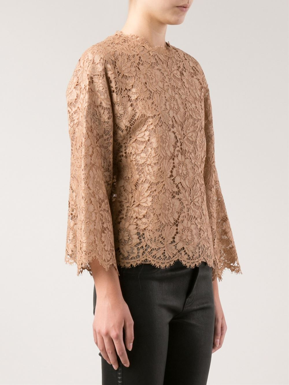 Valentino Lace Blouse In Brown Lyst