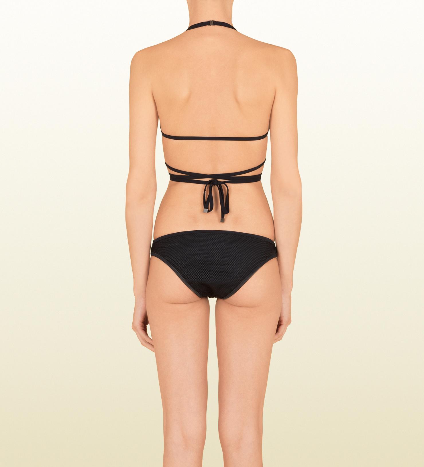 25aa0ae461362 Lyst - Gucci Black Mesh Wrap Around Bikini in Black