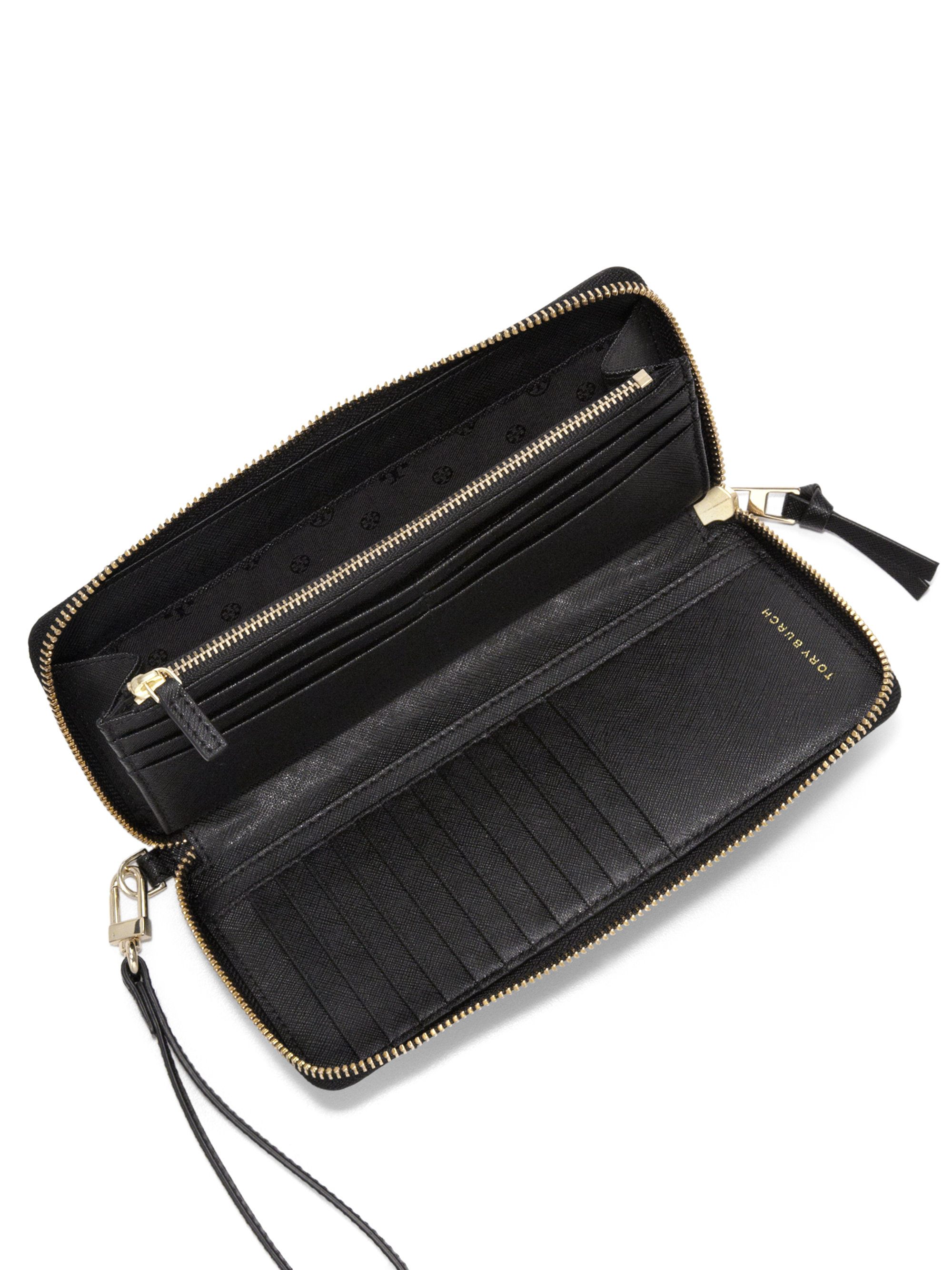 59e23175891ac Lyst - Tory Burch Robinson Stitched Leather Wristlet Wallet in Black