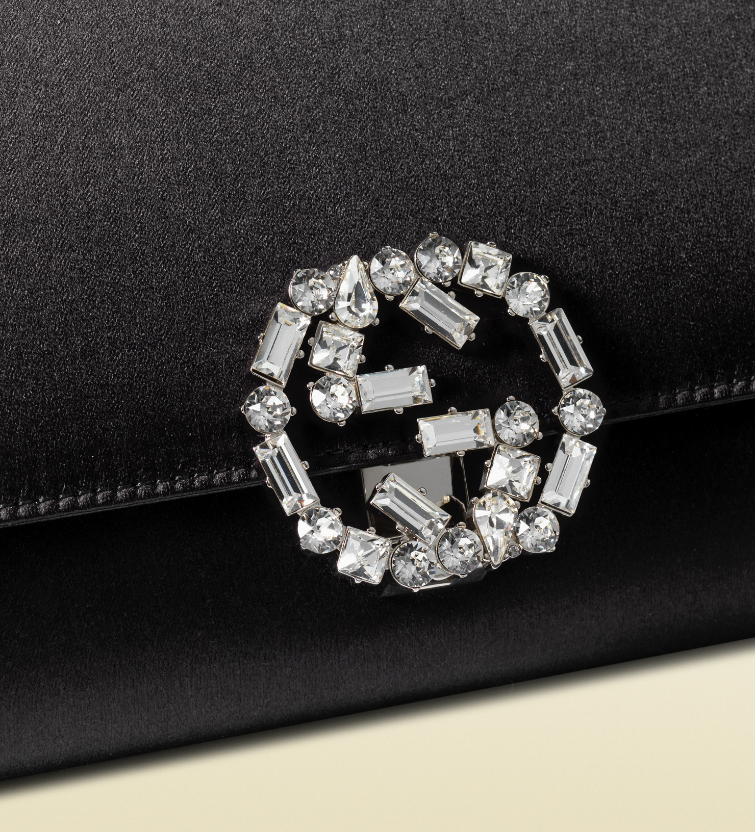 d644ded3433 Lyst - Gucci Broadway Suede Clutch With Crystal Closure in Black
