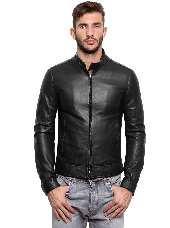 lyst dolce gabbana nappa leather biker jacket in black for men. Black Bedroom Furniture Sets. Home Design Ideas