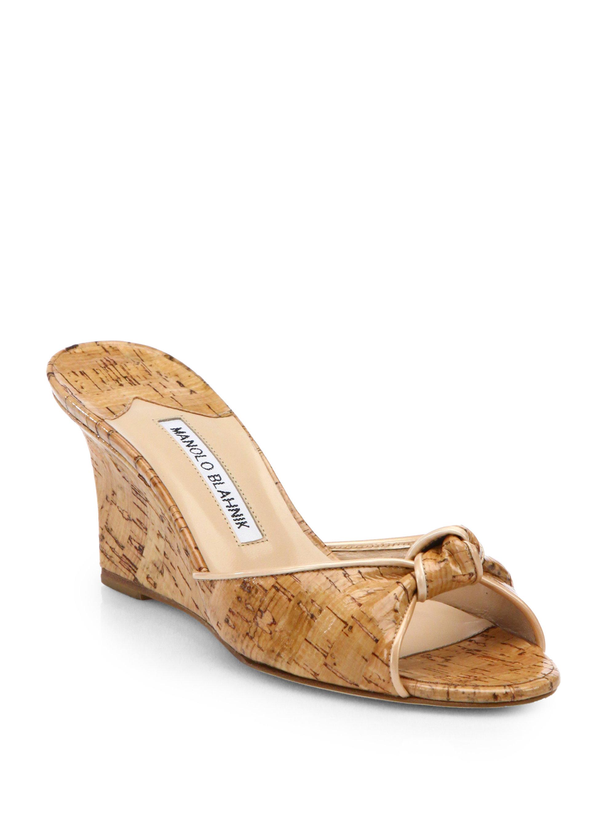 Manolo Blahnik Cork Wedge Slide Sandals In Natural Lyst