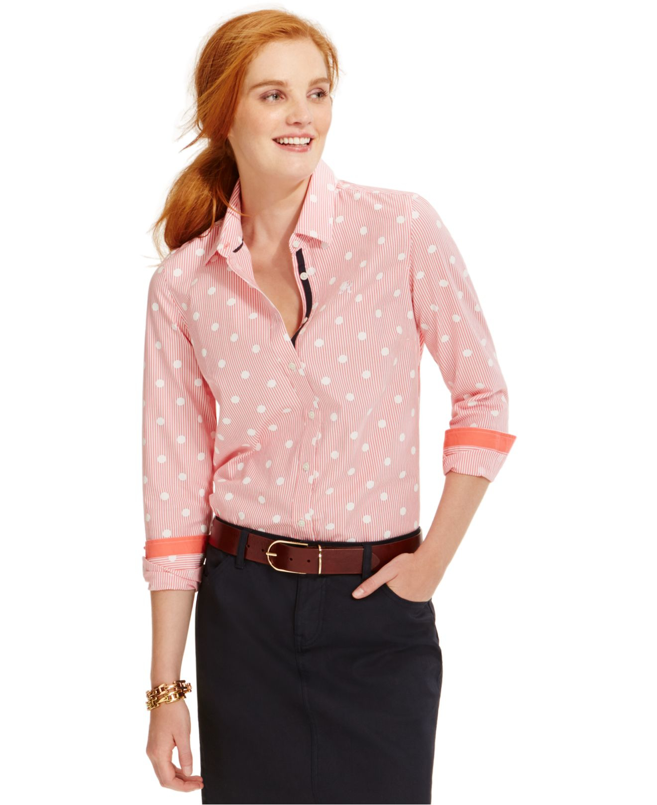 Tommy Hilfiger Printed Button Down Shirt In Pink Lyst