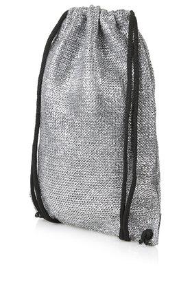 Topshop Metallic Woven Drawstring Bag in Metallic | Lyst
