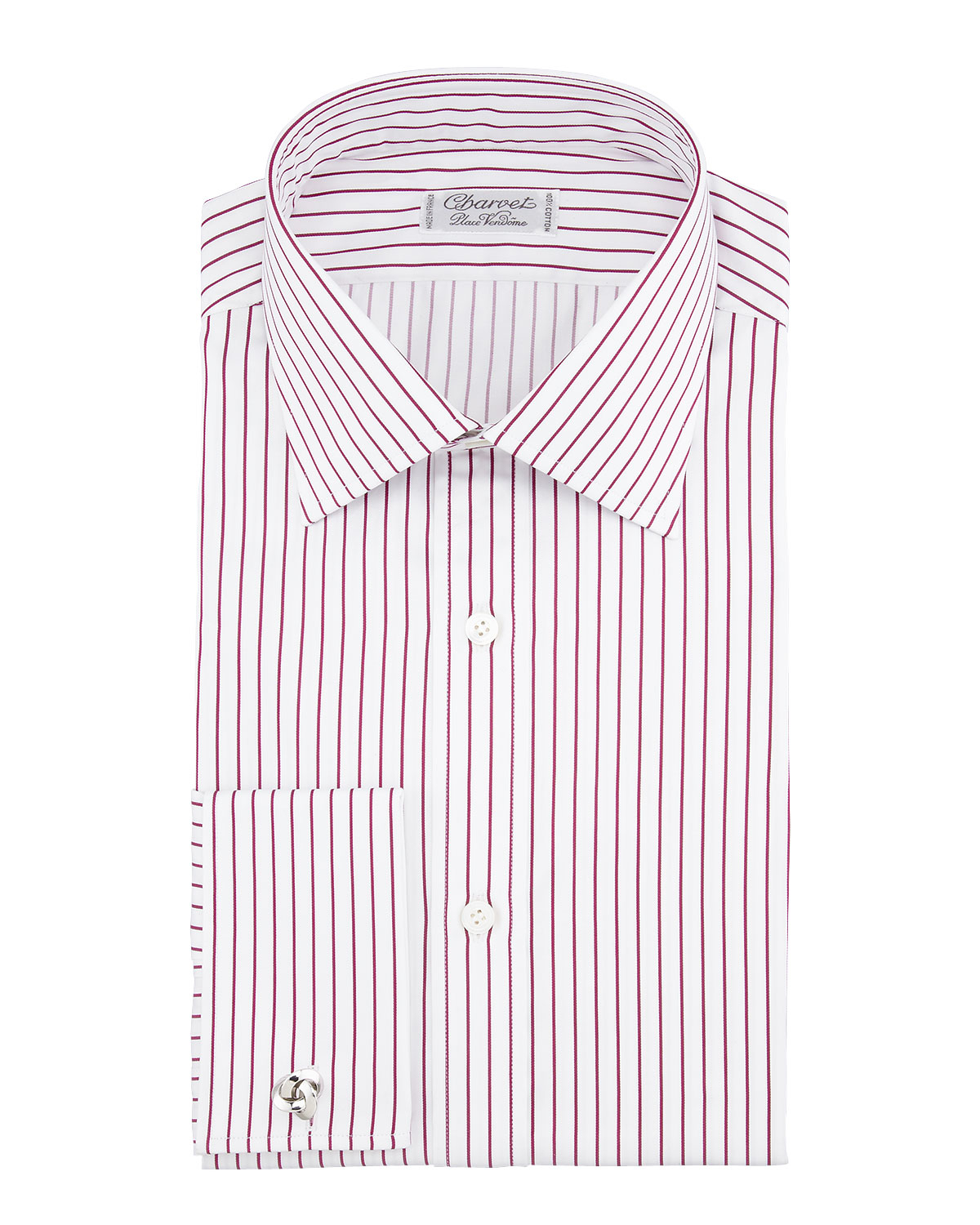 Lyst charvet mens satin stripe french cuff dress shirt for Mens red and white striped dress shirt