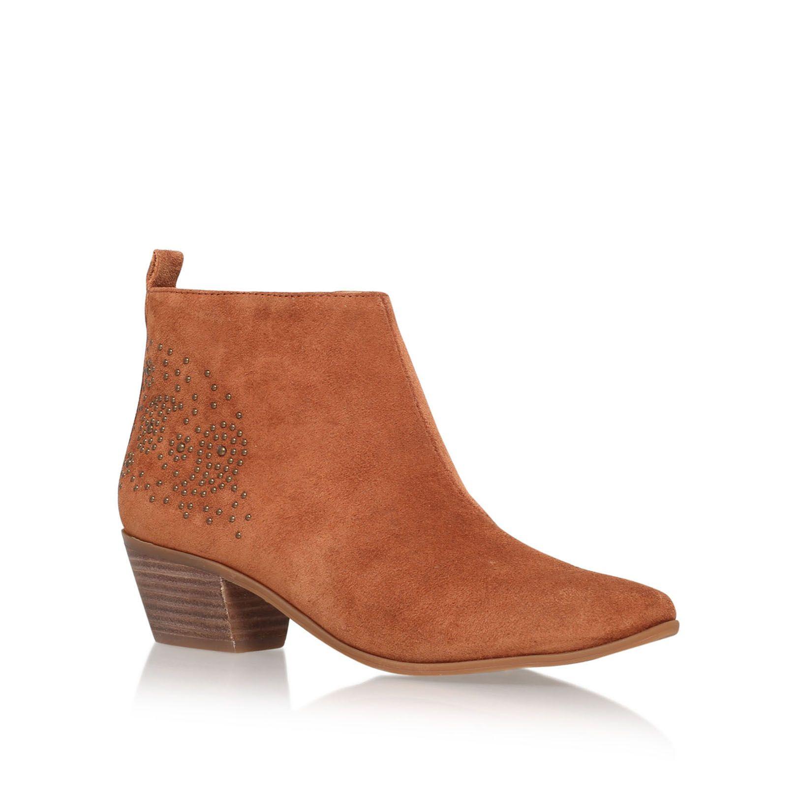 nine west twinsie low heel ankle boots in brown lyst