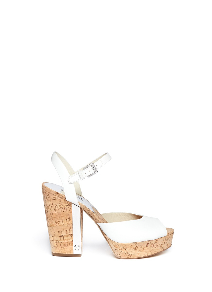 Michael Kors London Cork Heel Leather Platform Sandals In