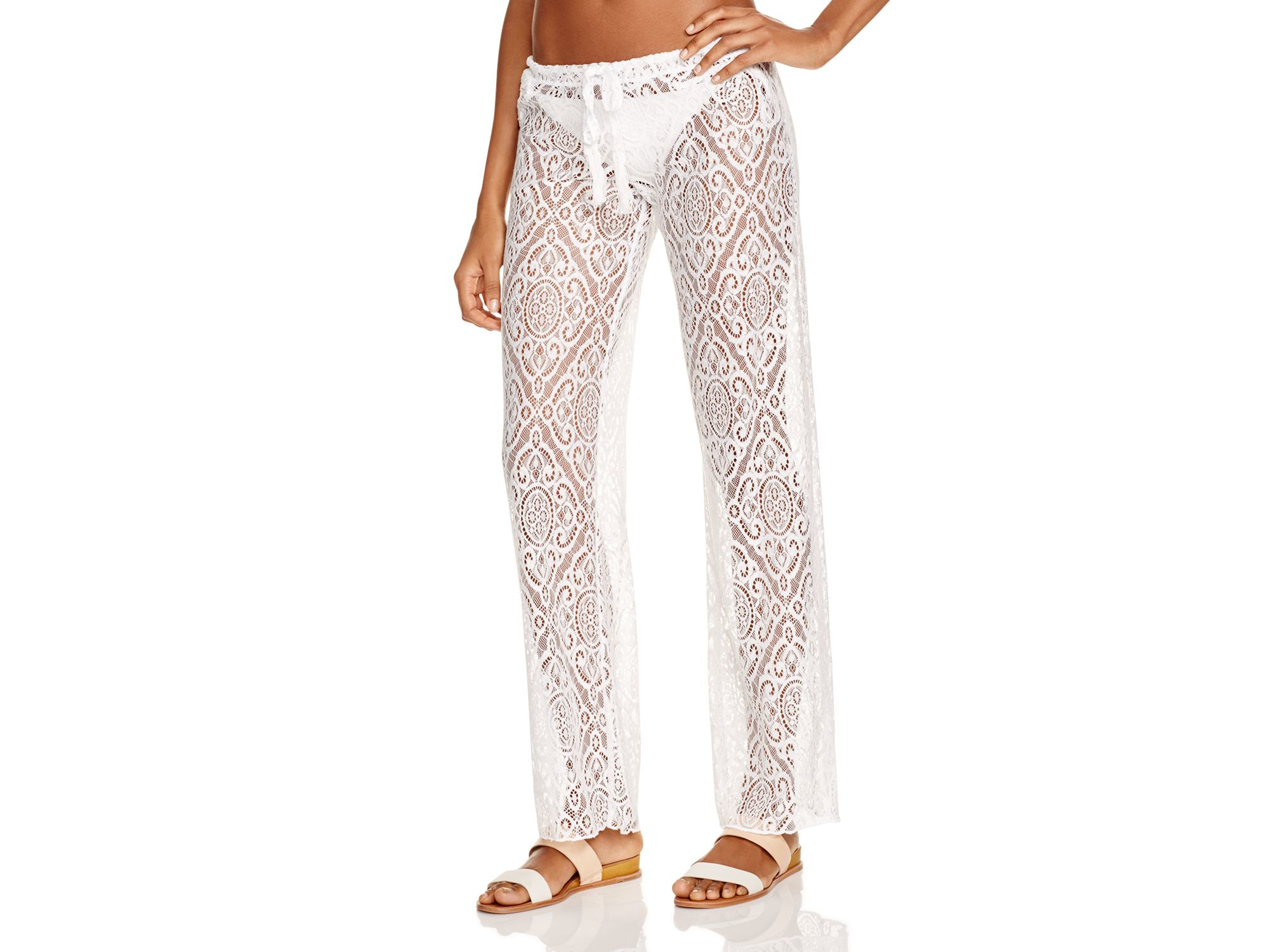 ddd2dd98f9 Becca Amore Lace Swim Cover Up Pants in White - Lyst
