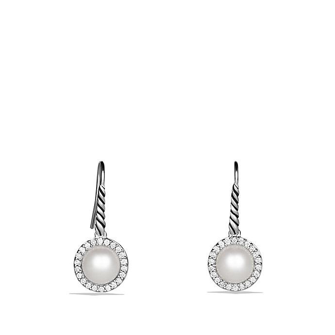 David Yurman Cable Pearl Drop Earrings With Diamonds In