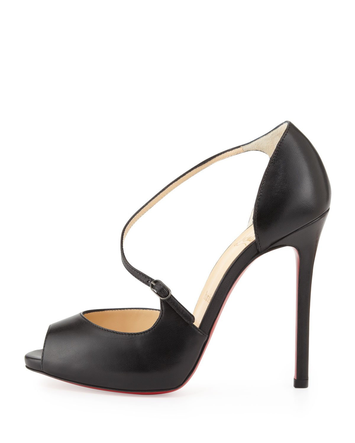 christian louboutin peep-toe slingback pumps Black satin bow ...