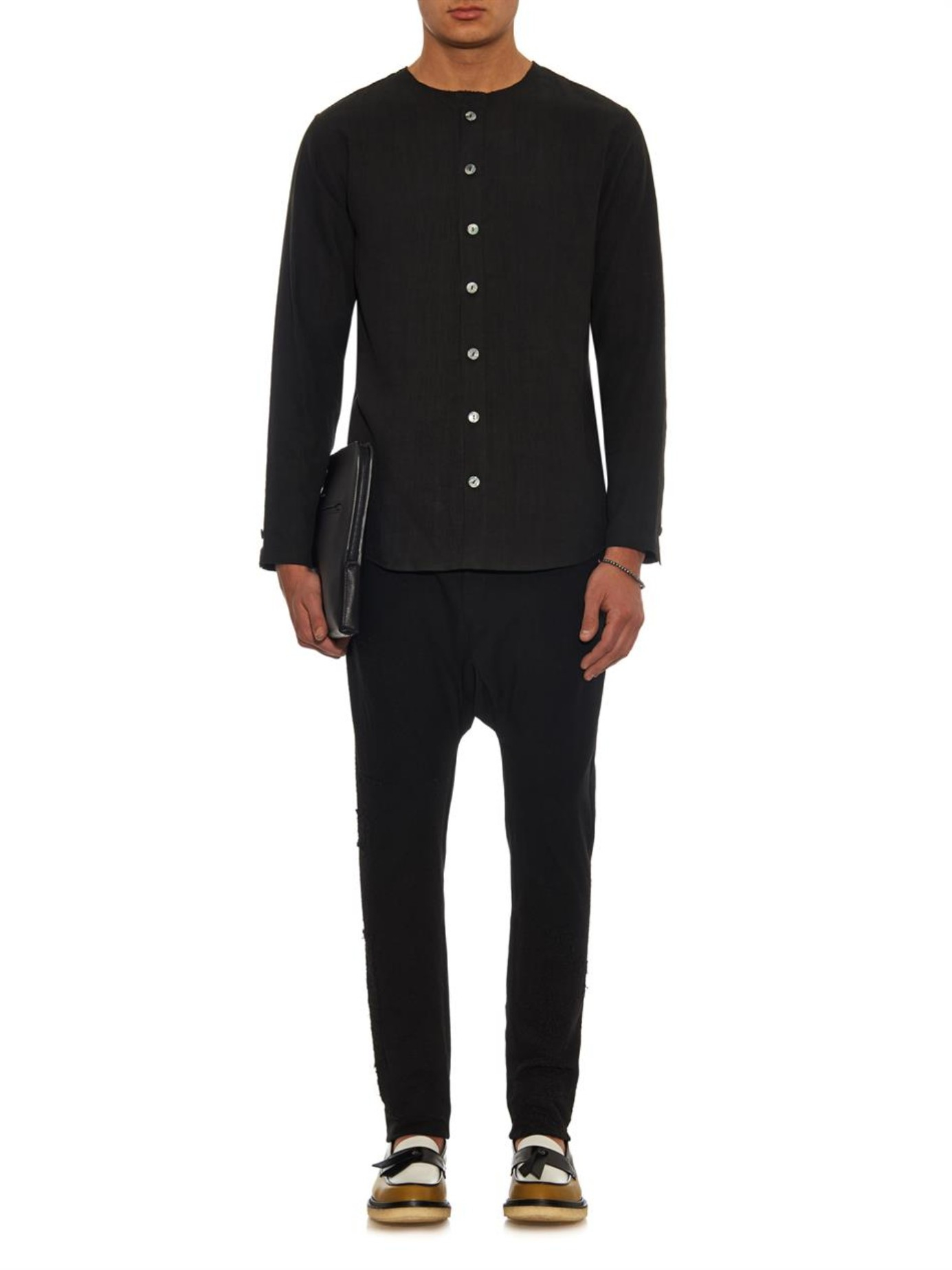 By walid Vintage-linen Collarless Shirt in Black for Men | Lyst