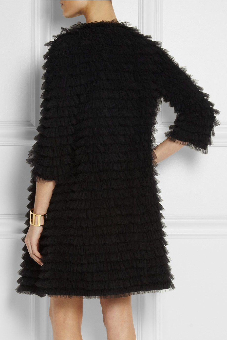 Lyst Moschino Tiered Ruffled Tulle Coat In Black