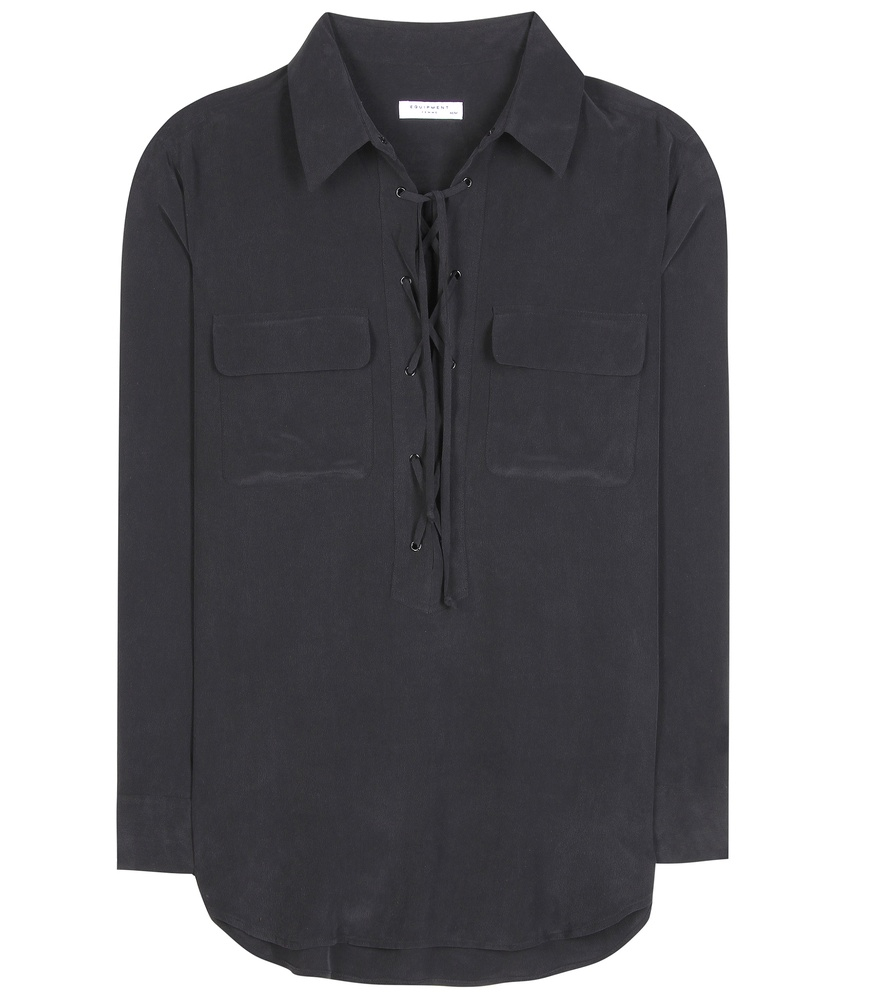 Equipment knox silk shirt in black lyst for Equipment black silk shirt