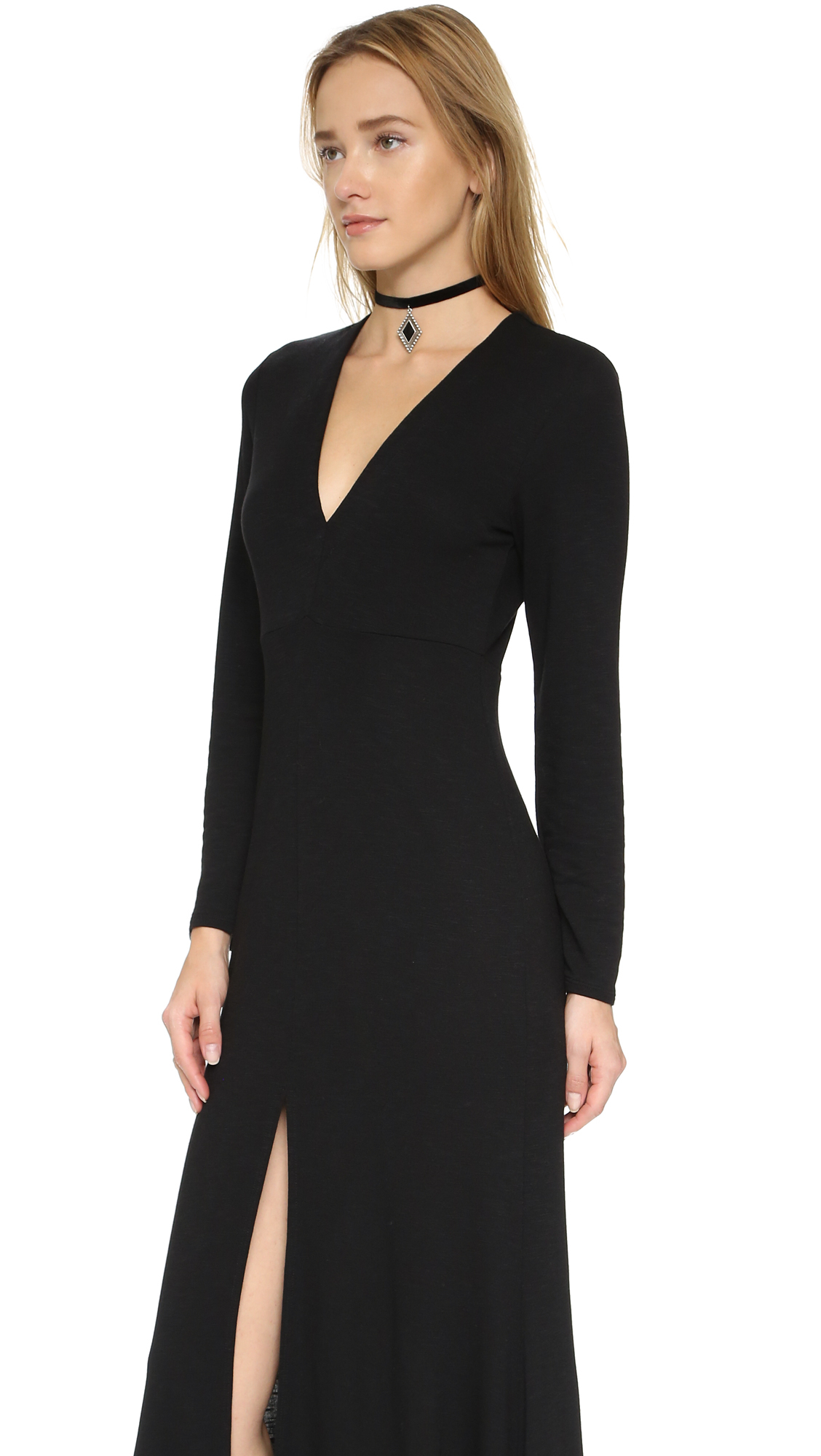 Lanston Long Sleeve Maxi Dress in Black | Lyst