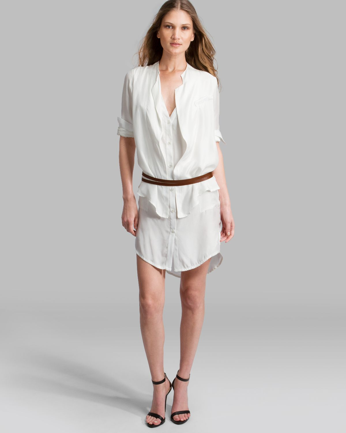 Lyst halston dress double layer belted shirt in white for Halston heritage shirt dress