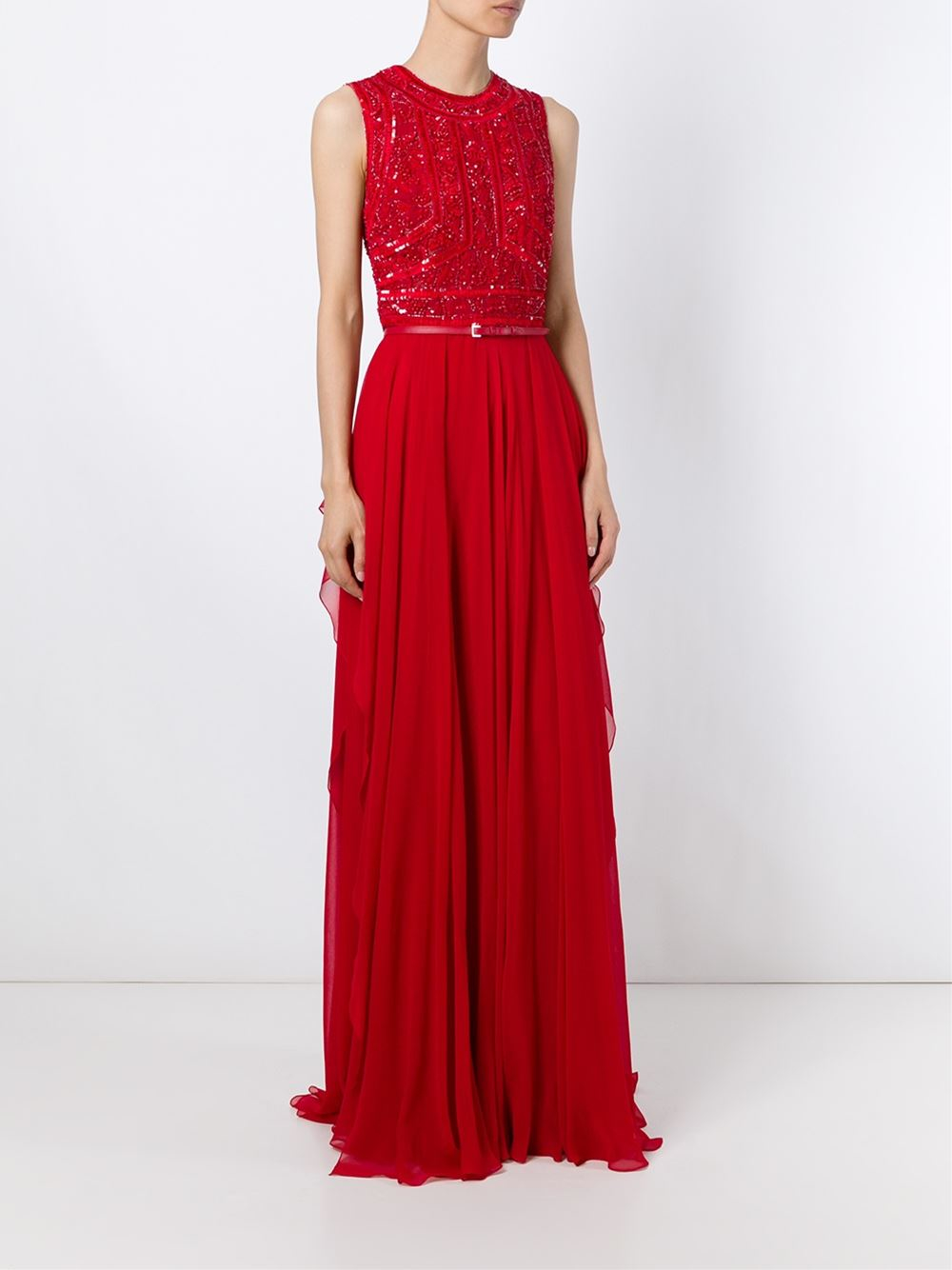 Elie Saab Embroidered Long Dress In Red Lyst