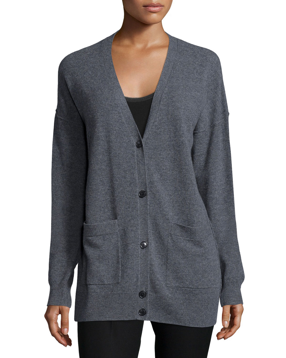 Joseph Soft Wool V-neck Cardigan in Gray | Lyst