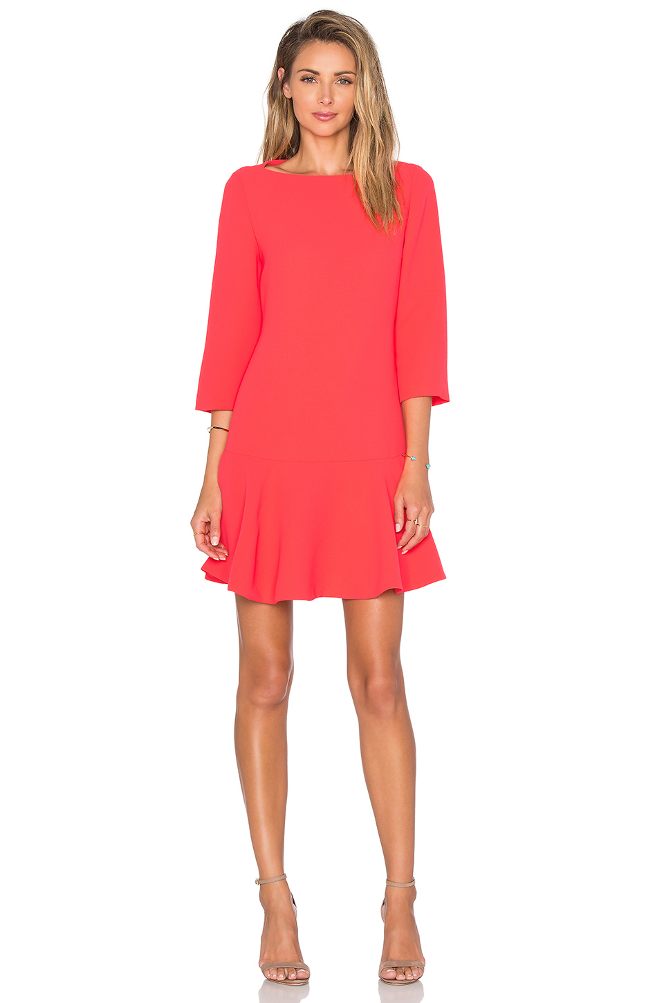 Kate Spade New York Crepe Flounce Dress In Pink Lyst