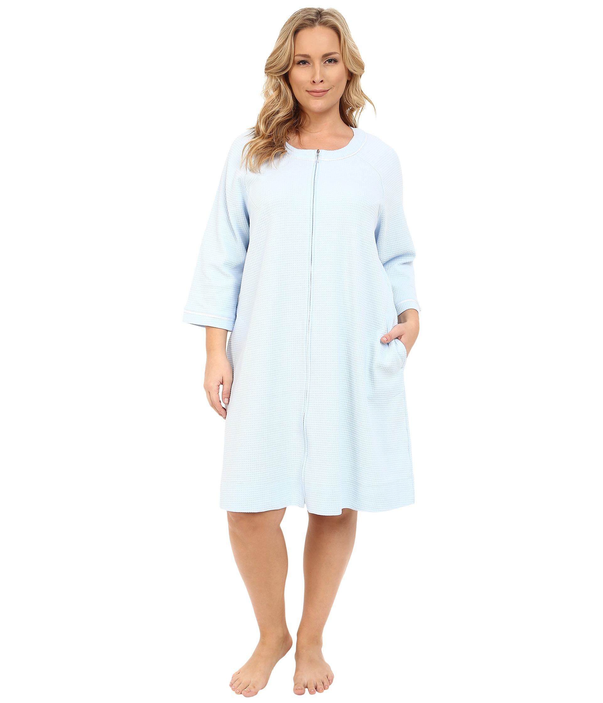 8d4dbf364e Lyst - Carole Hochman Plus Size Short Waffle Knit Zip Robe in Blue