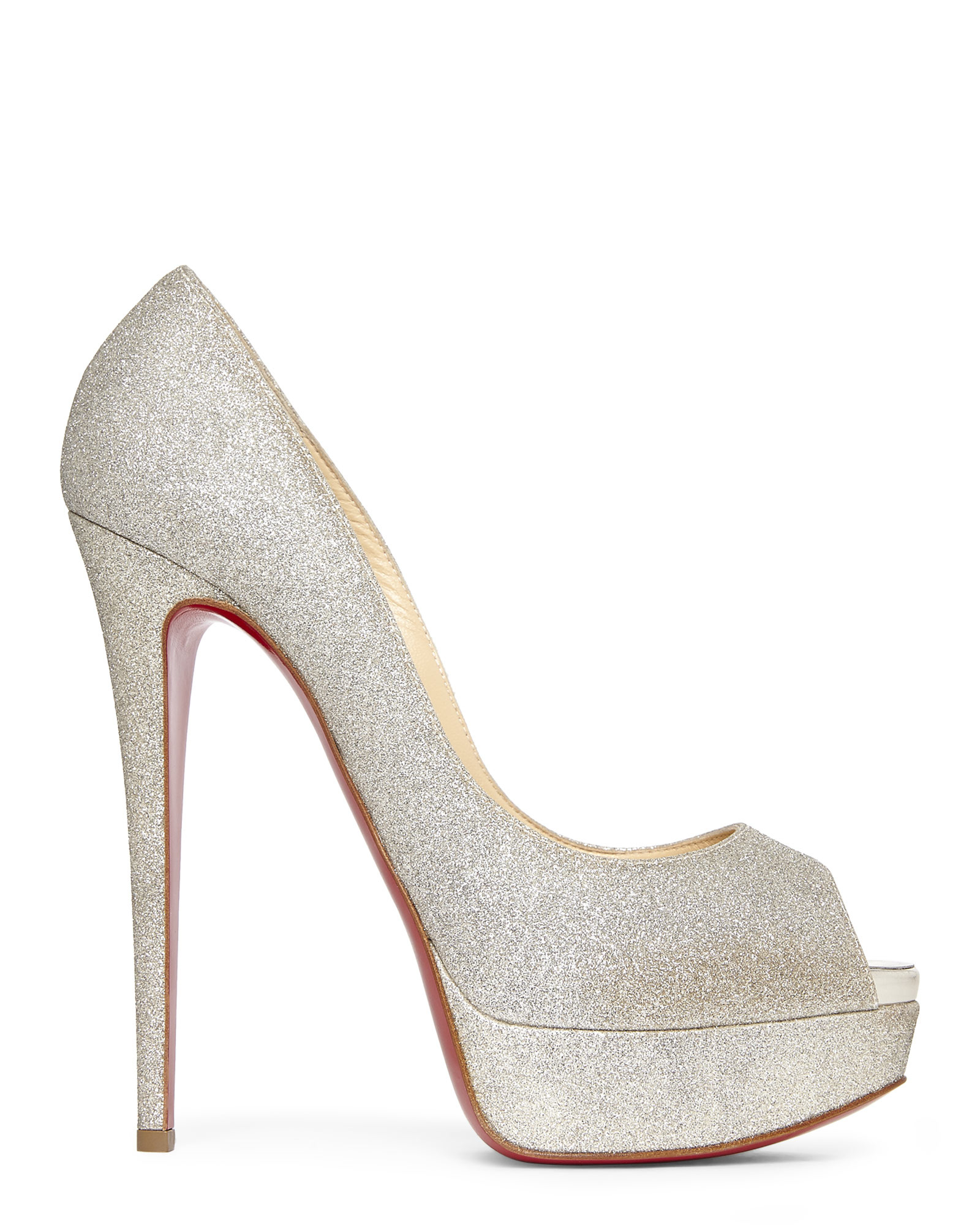louis vuitton red bottom shoes price - christian louboutin Lady Peep Sling pumps Multicolor glitter ...