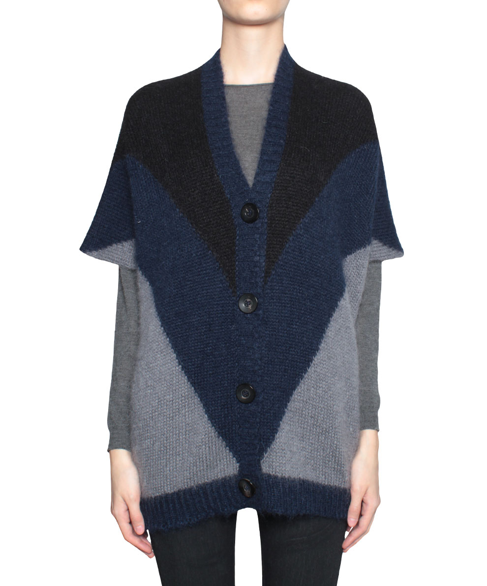 Lyst Roberto Collina Three Colors Mohair Wool Poncho In Gray