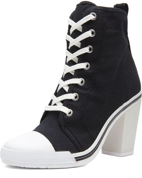 opening ceremony x dkny high heel canvas sneakers in black