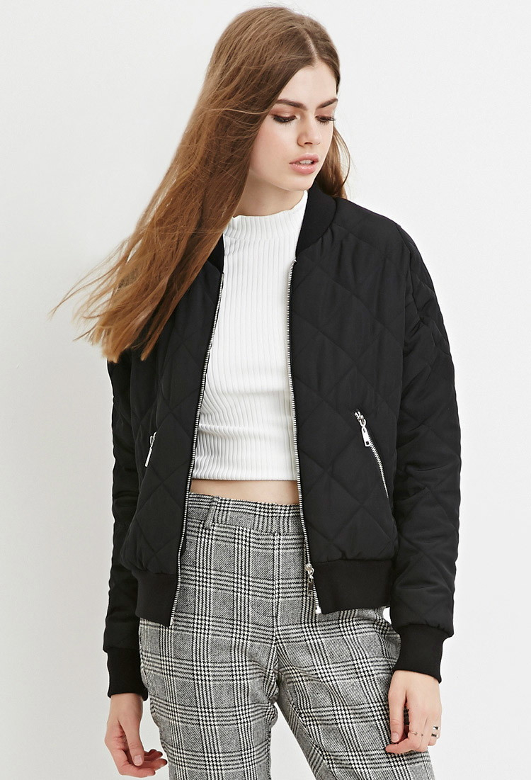 Forever 21 Contemporary Quilted Bomber Jacket in Black | Lyst