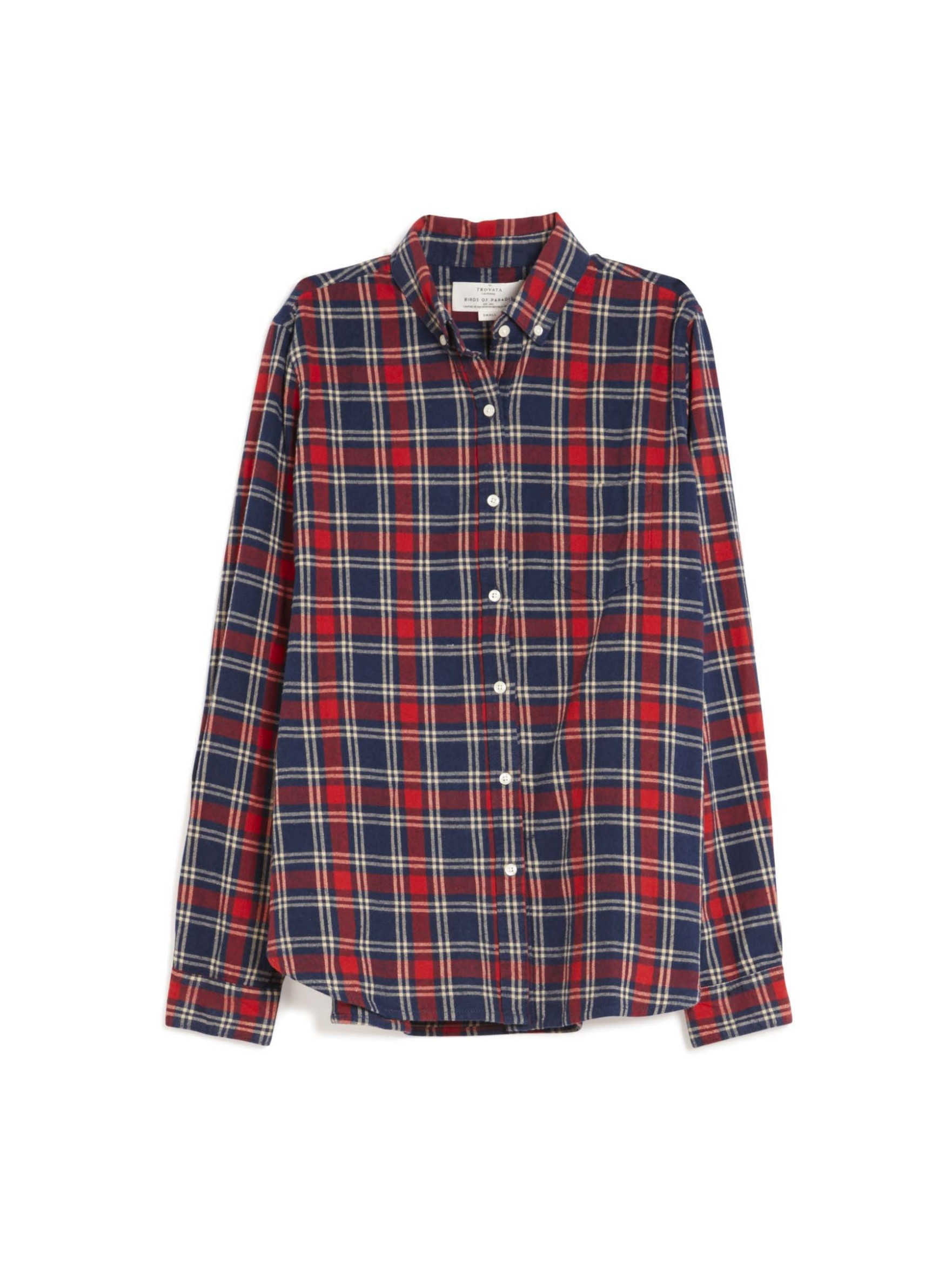 Birds of paradis classic plaid shirt in blue navy red for Navy blue plaid shirt