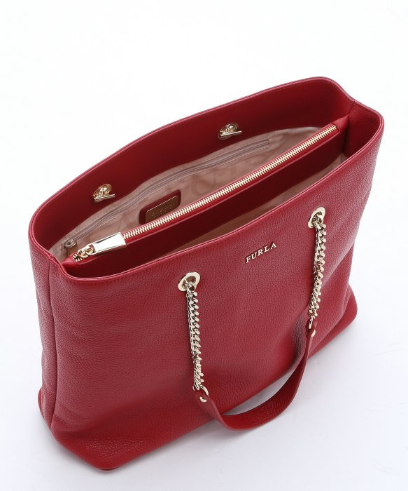 Furla Cabernet Leather Medium 'julia' Chain Tote in Red | Lyst