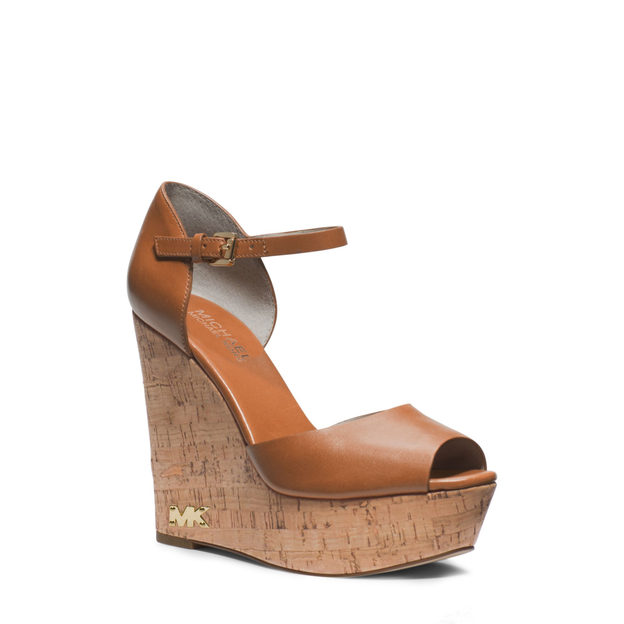136da2327d34 Lyst - Michael Kors Ivana Leather And Cork Wedge in Brown