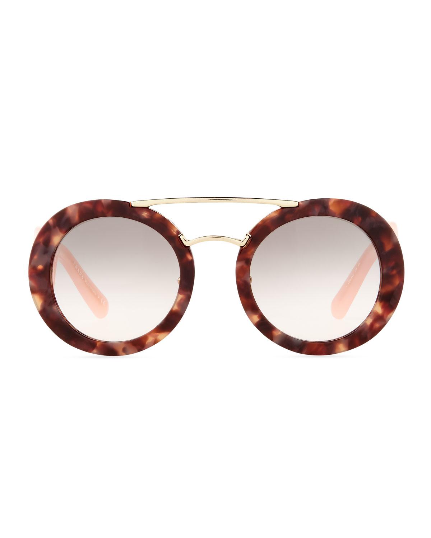 e7326568a1dd ... new zealand lyst prada baroque round brow bar sunglasses in pink 6545d  9ee2e