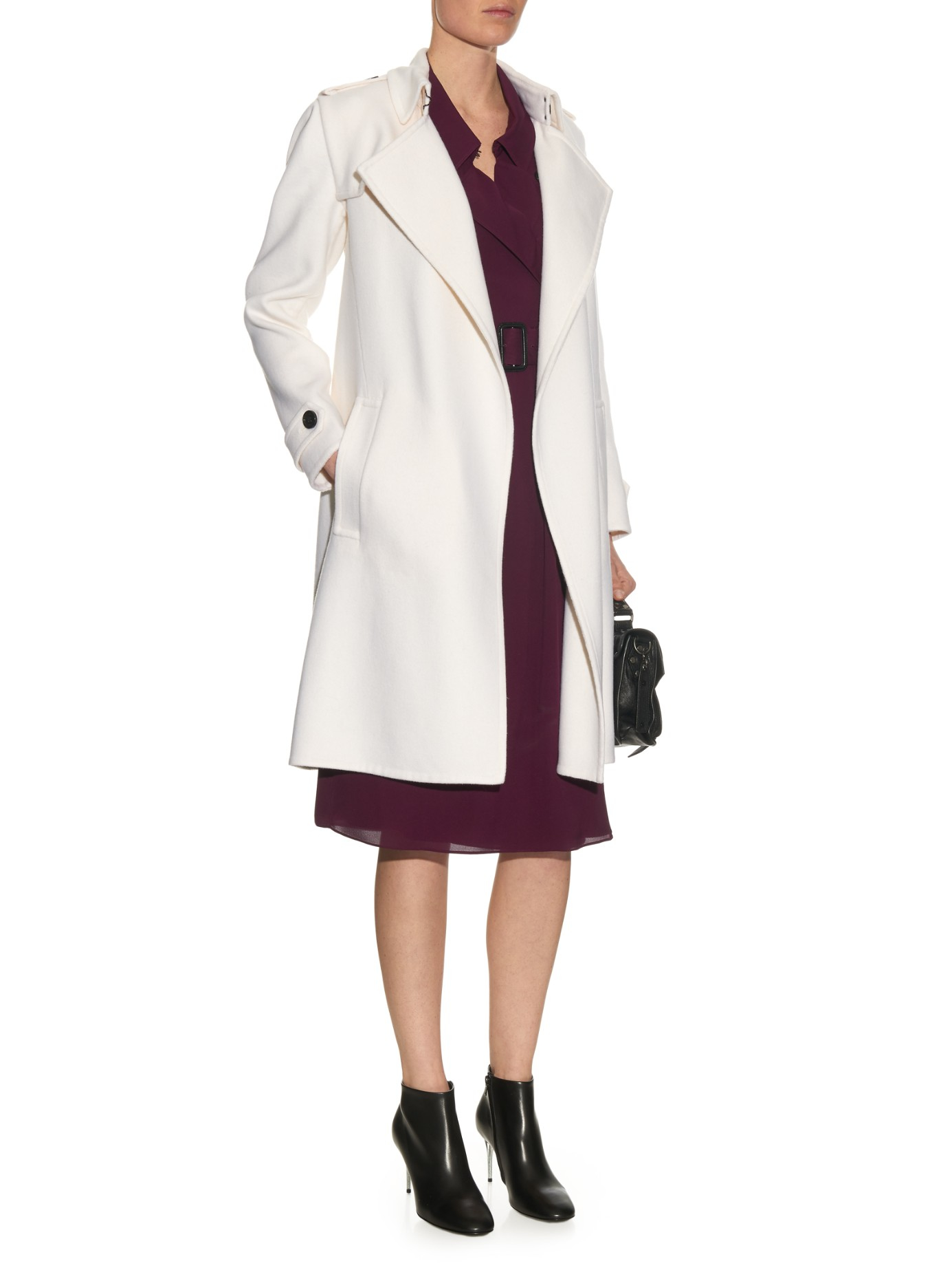 Burberry Tempsford Double-faced Cashmere Coat in White | Lyst