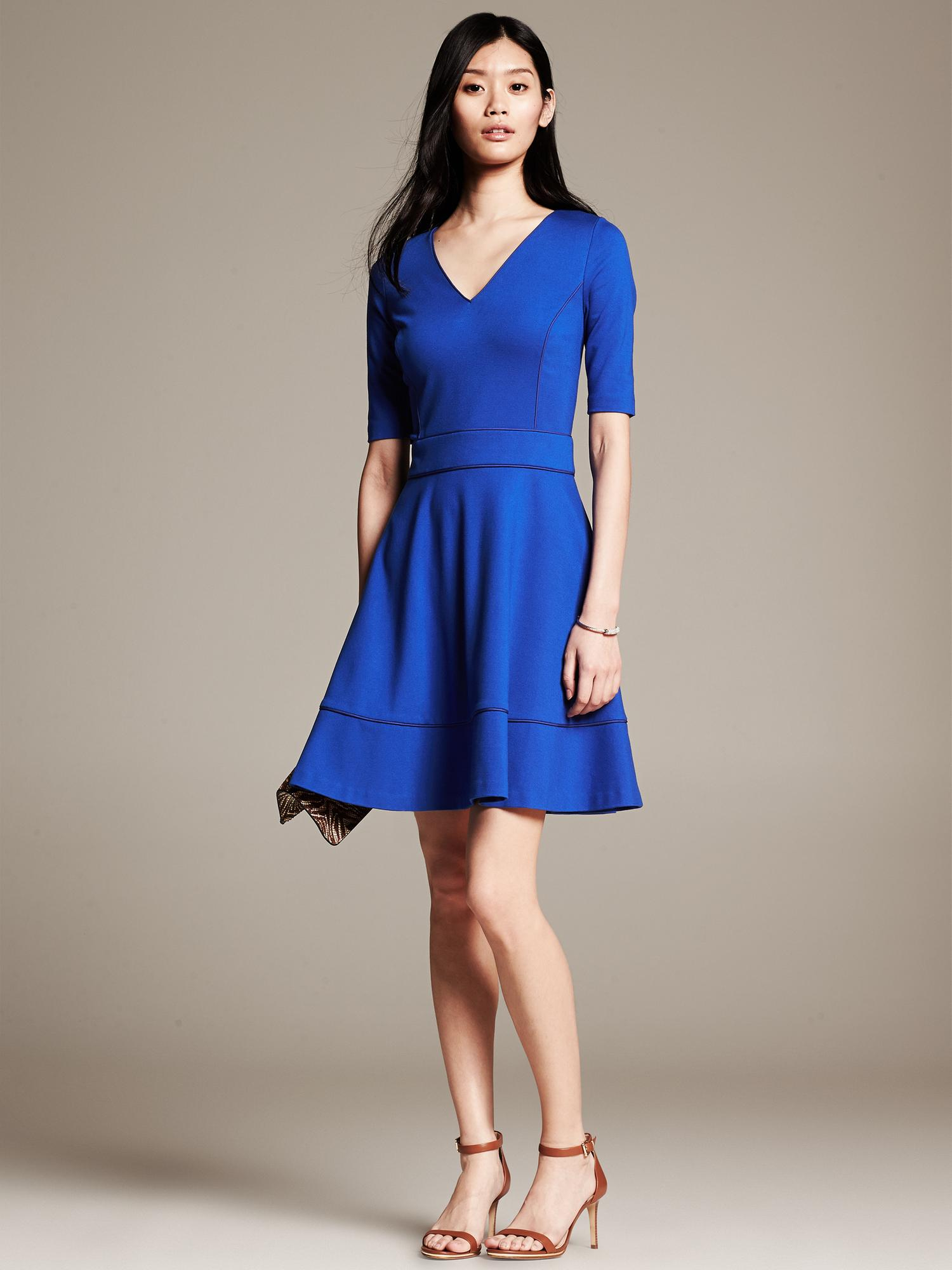 Banana Republic Piped Ponte Fit And Flare Dress In Blue