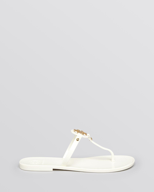 8cbbaddec04b52 Tory Burch Flat Thong Sandals - Mini Miller Jelly in White - Lyst