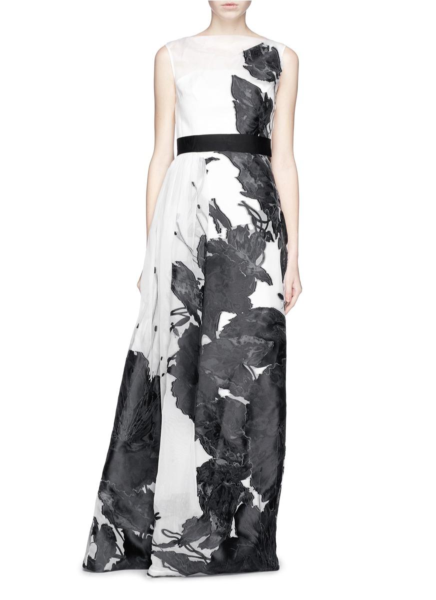 Lyst - St. John \'Dramatic\' Floral Fil Coupé Gown