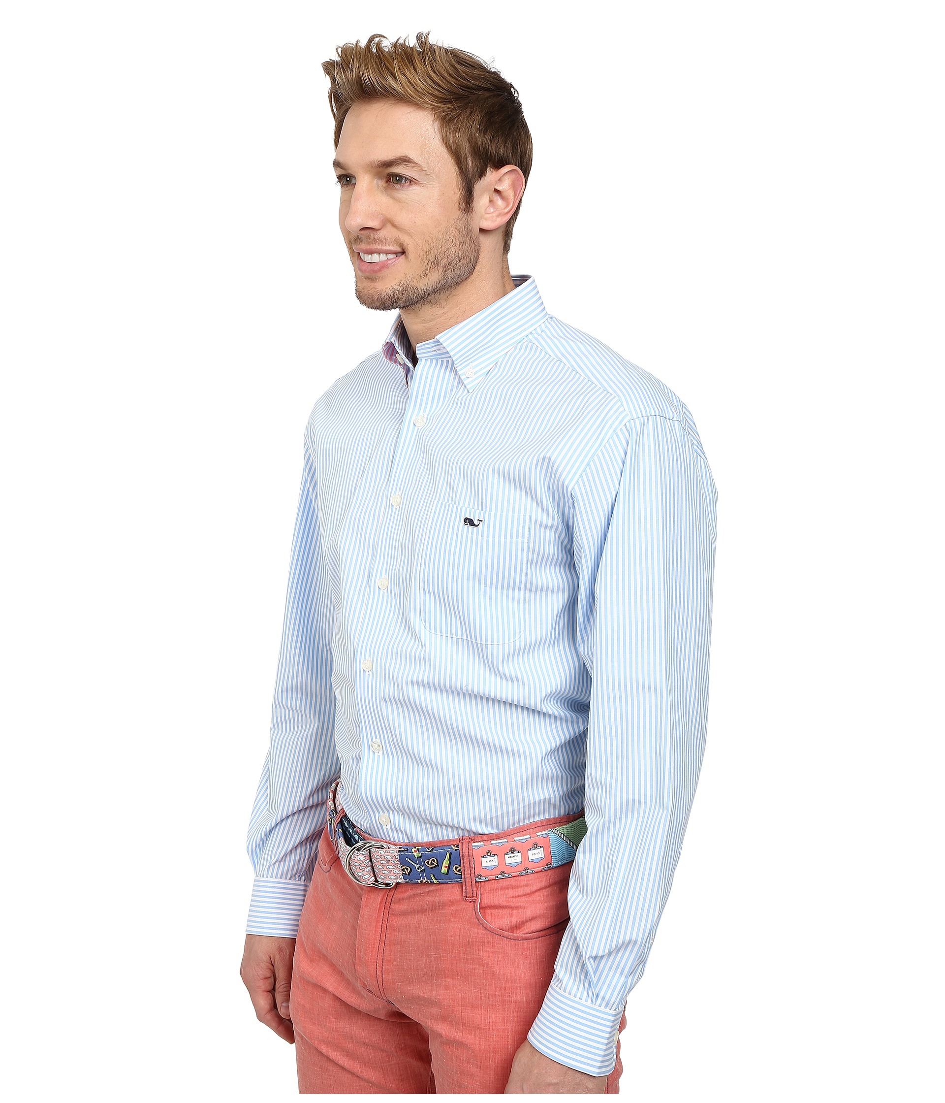 Vineyard Vines St Maarten Stripe Tucker Shirt In Blue For