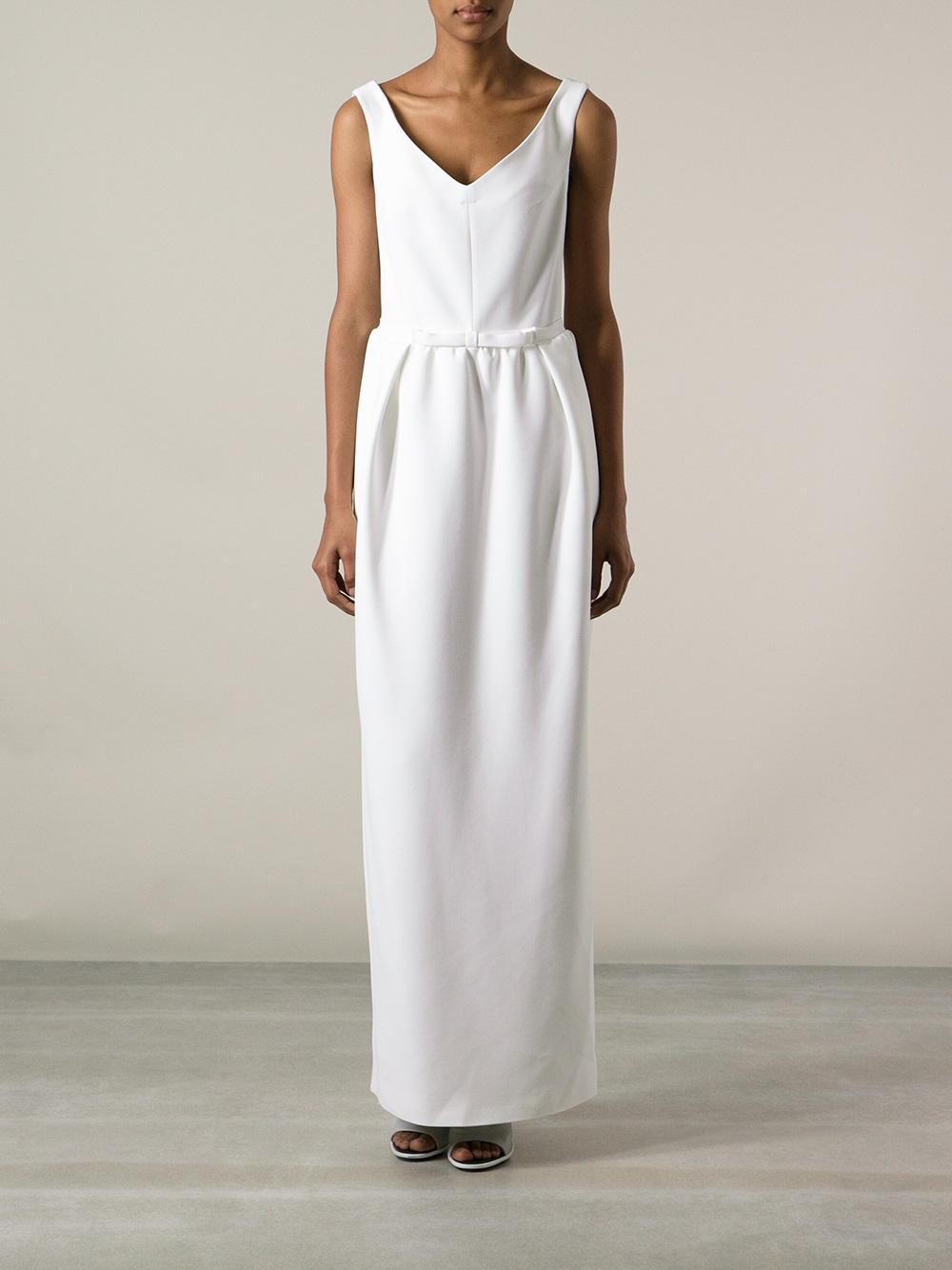 Lyst - Carven Vneck Maxi Dress in White