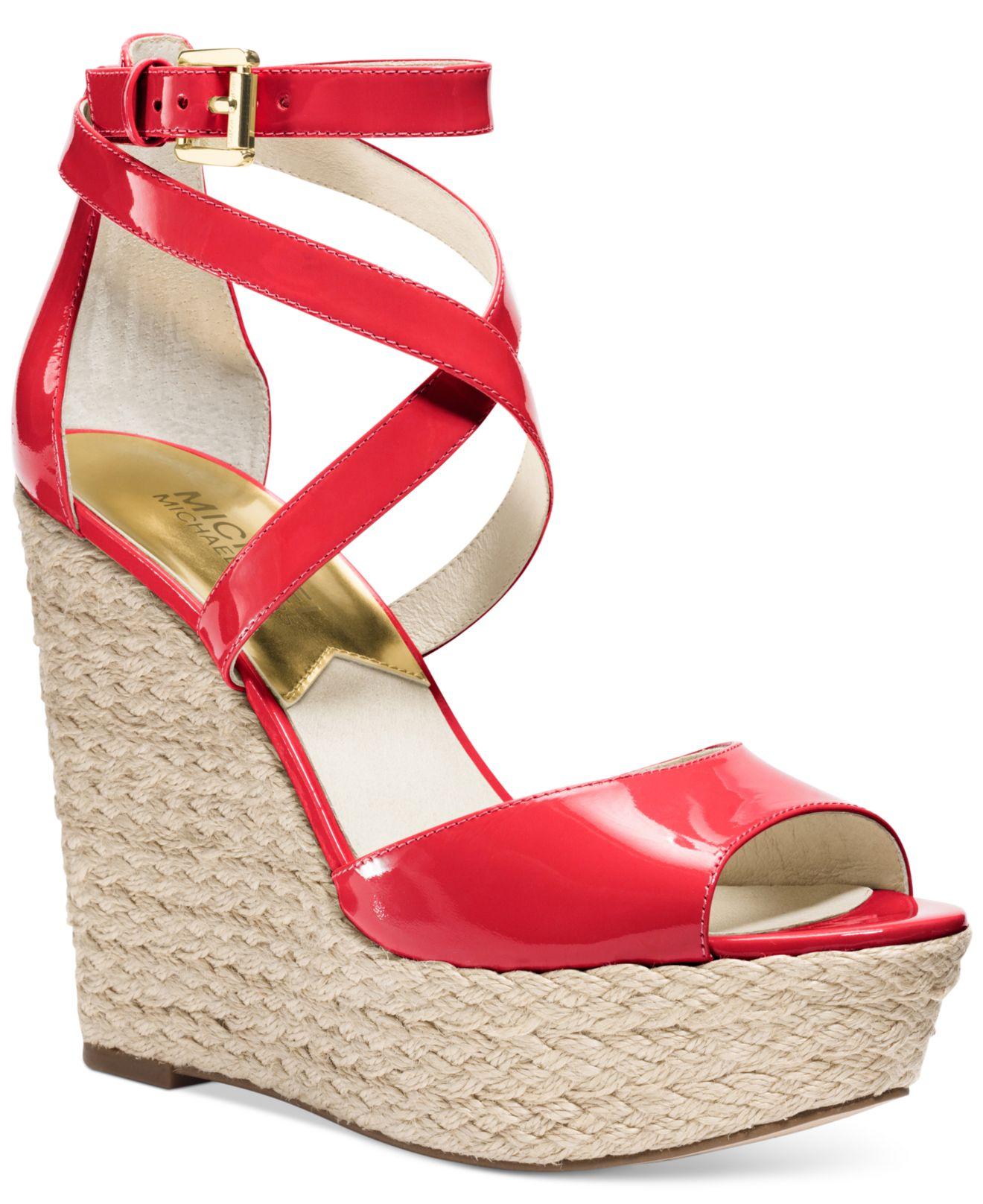 5a4c11f27e0 Lyst - Michael Kors Michael Gabriella Platform Wedge Sandals in Red