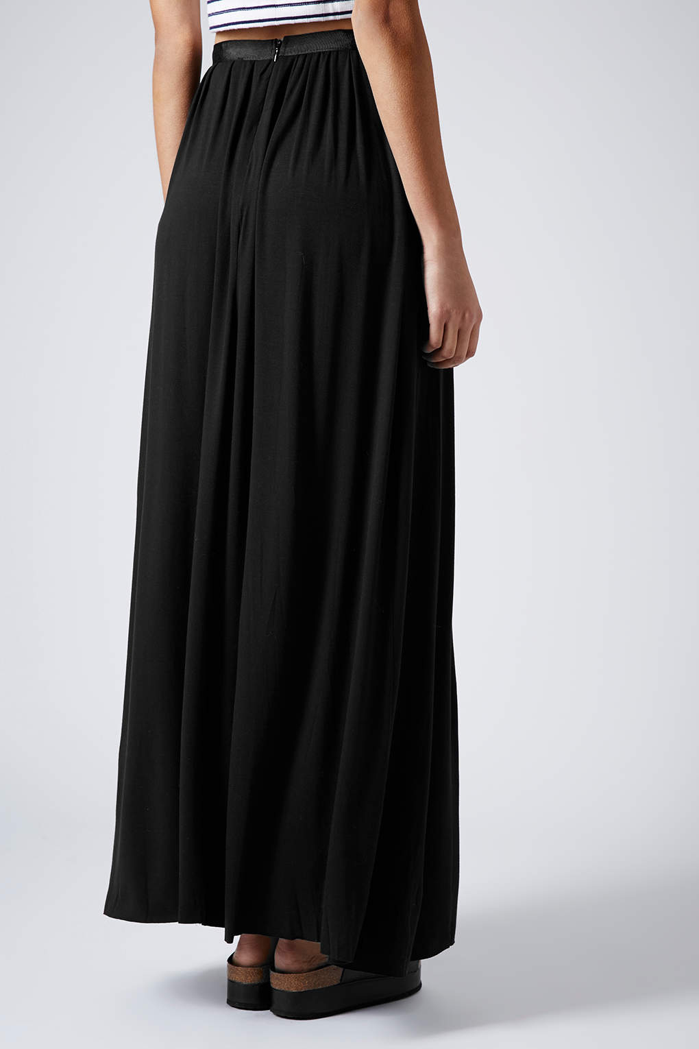 Lyst - Topshop Black Jersey Pleat Maxi Skirt in Black