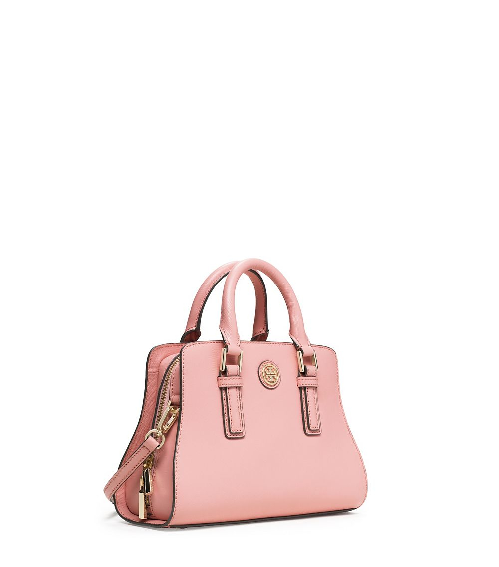 def753cb2ce Lyst - Tory Burch Robinson Mini Curved Satchel in Pink