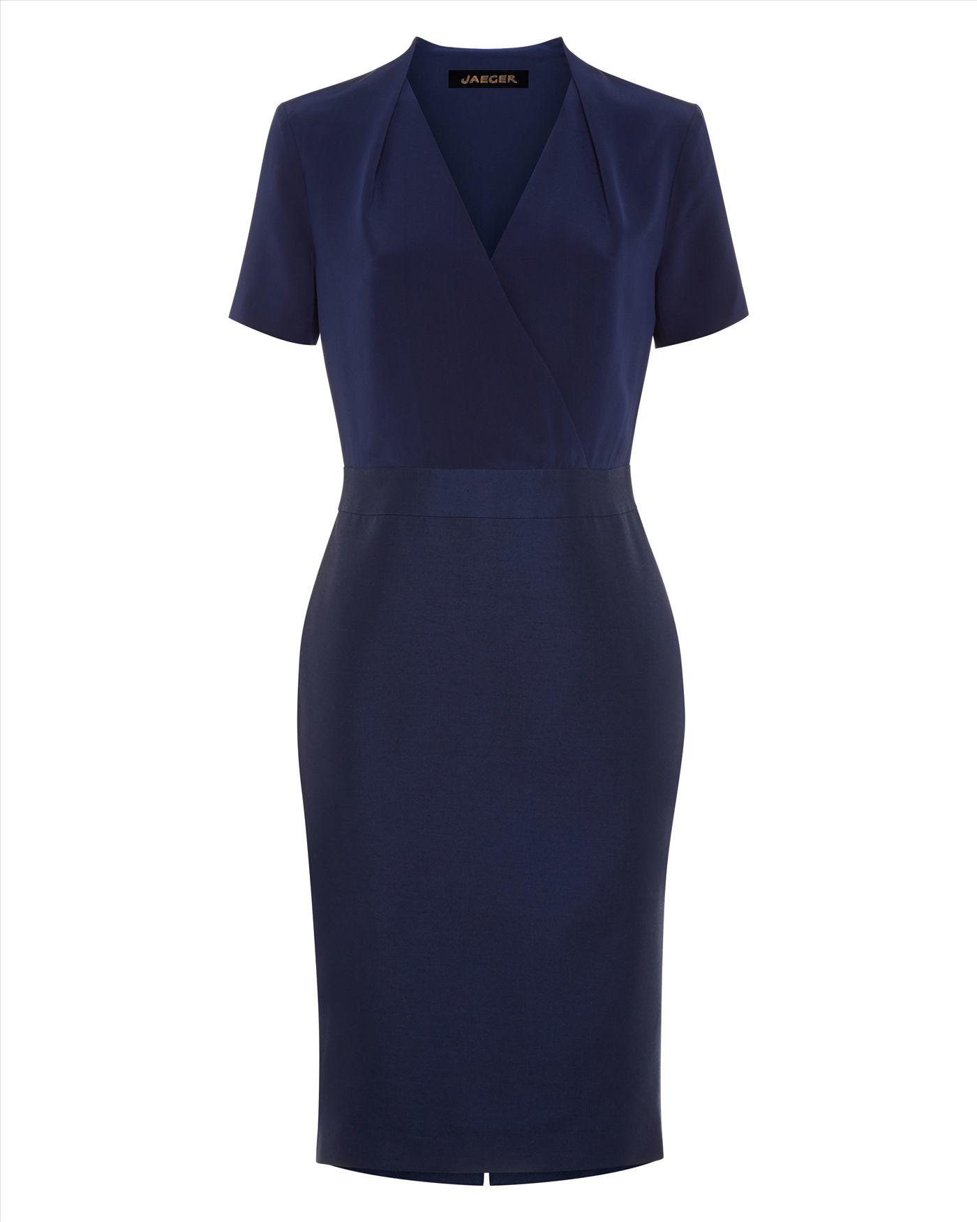 Lyst Jaeger Silk Wool Tailored Dress In Blue