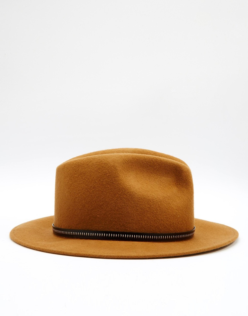 1c31b586 Catarzi Fedora Hat With Leather Trim in Brown for Men - Lyst
