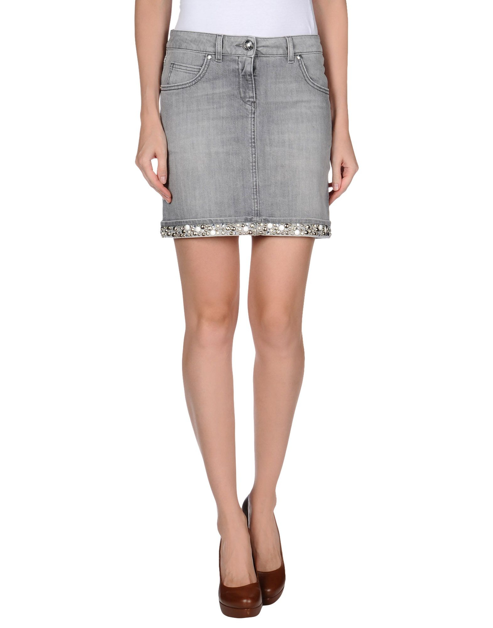 moschino denim skirt in gray grey save 61 lyst
