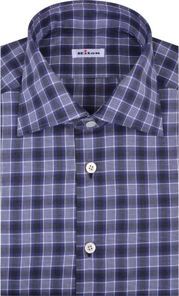 Kiton Purple And Charcoal Plaid Dress Shirt In Purple For
