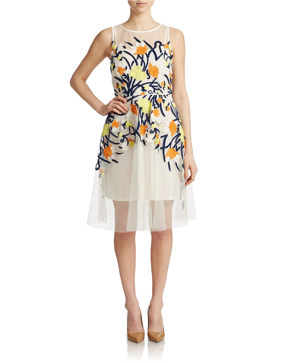 820982c8c0c Eva By Eva Franco Harper Embroidered Fit And Flare Dress in White - Lyst