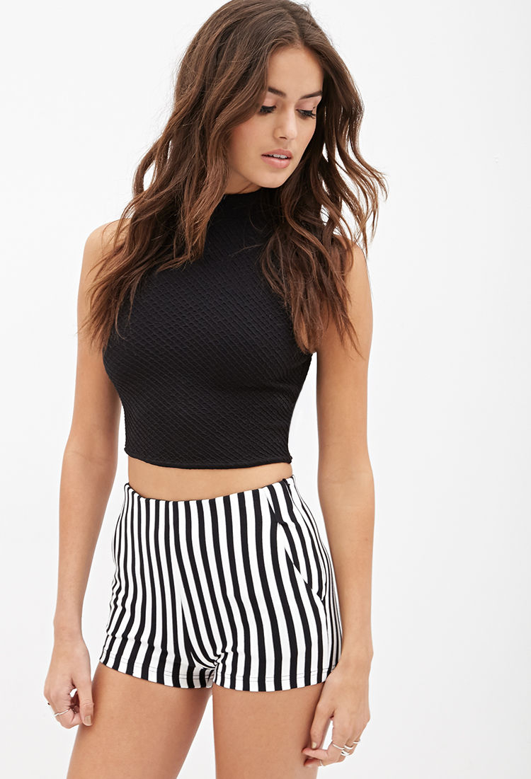 Lyst - Forever 21 High-waisted Striped Shorts in Black