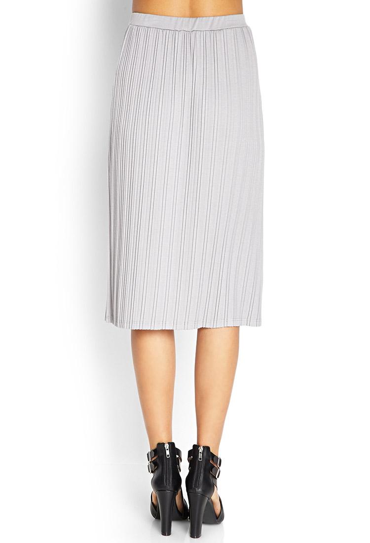forever 21 pleated midi skirt in gray lyst