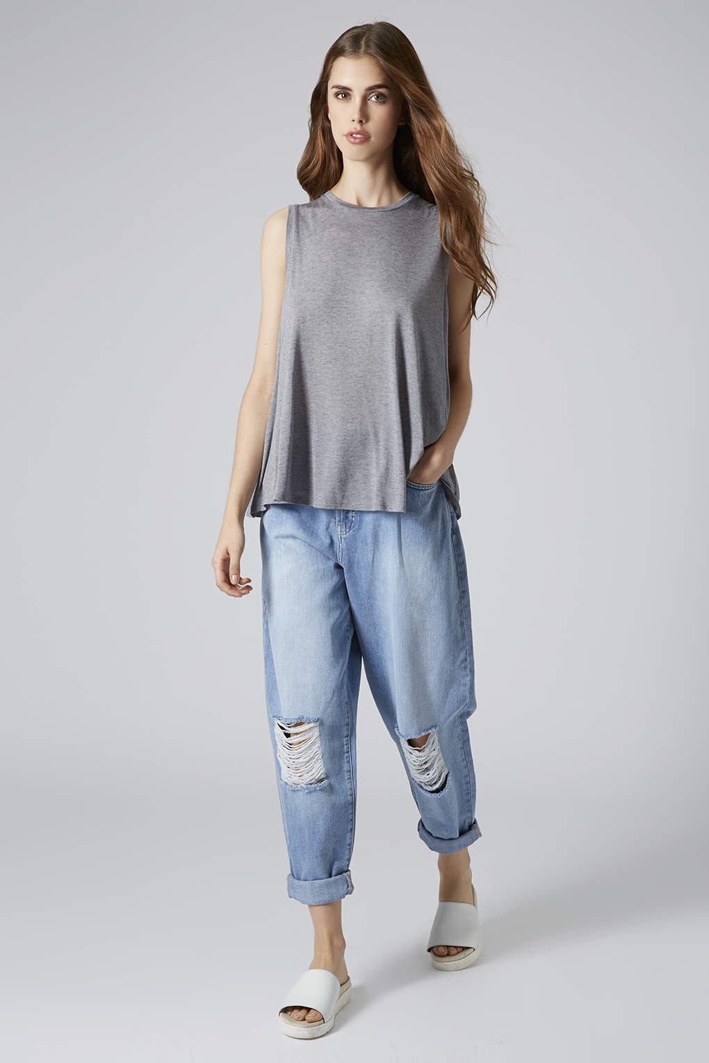 Topshop Surf Ripped Baggy Jeans in Blue | Lyst