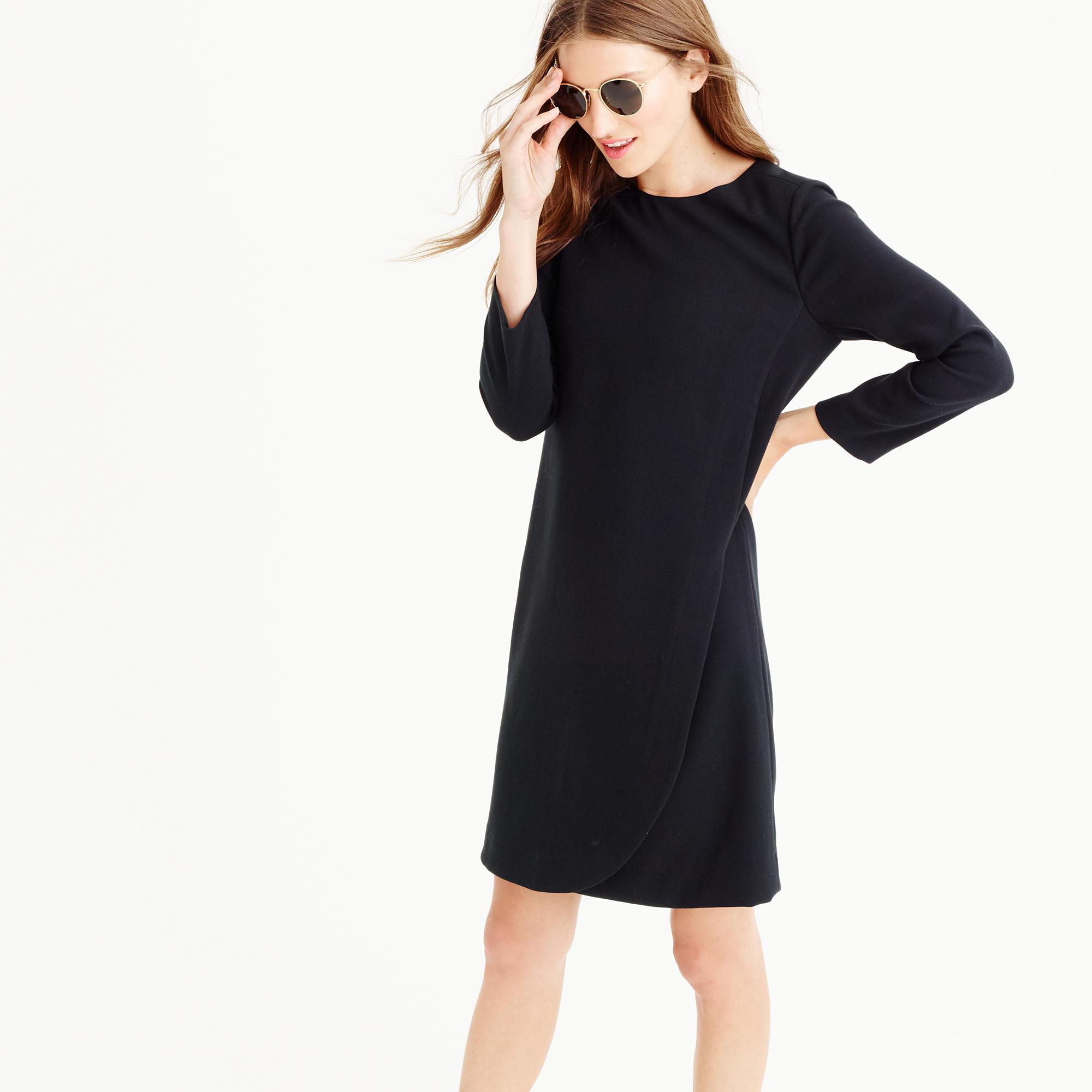Petite overlapped long sleeve shift dress in black for Jcrew com